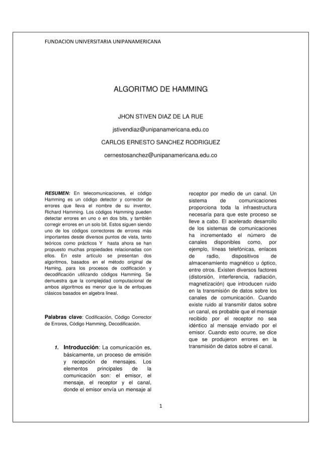 Algoritmo de hamming