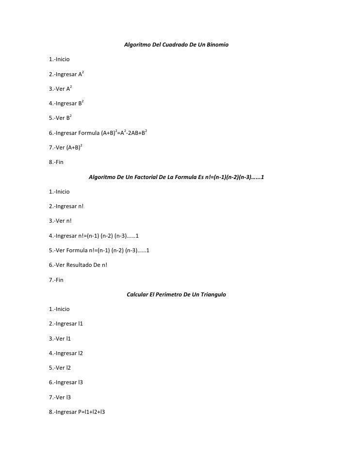Algoritmo Del Cuadrado De Un Binomio1.-Inicio2.-Ingresar A23.-Ver A24.-Ingresar B25.-Ver B26.-Ingresar Formula (A+B)2=A2-2...