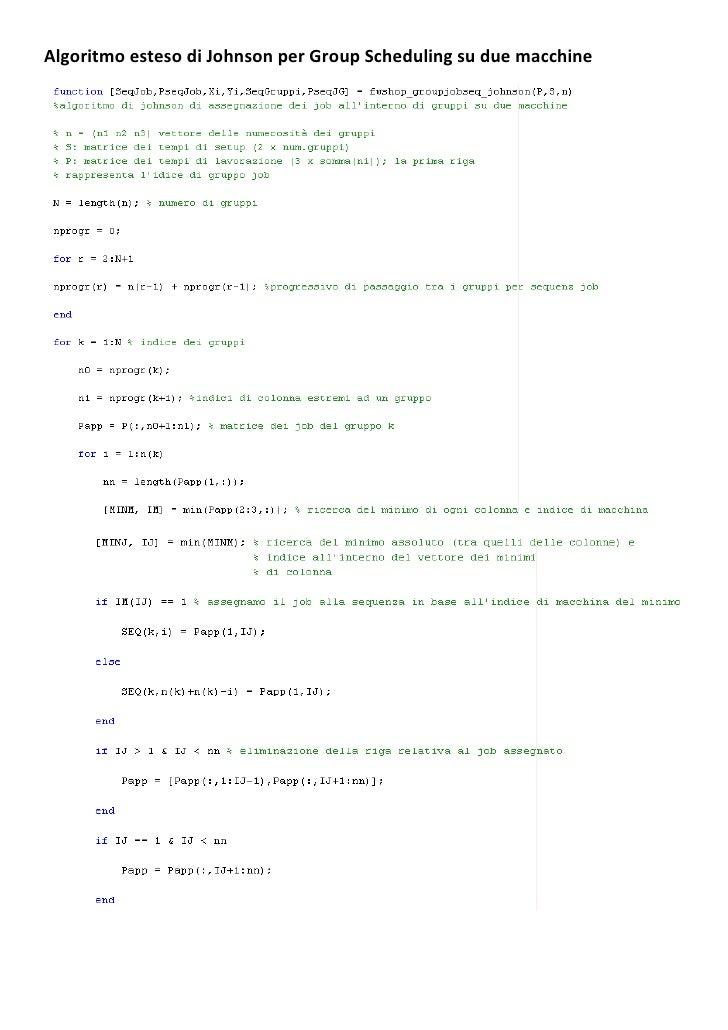 Algoritmo esteso di Johnson per Group Scheduling su due macchine
