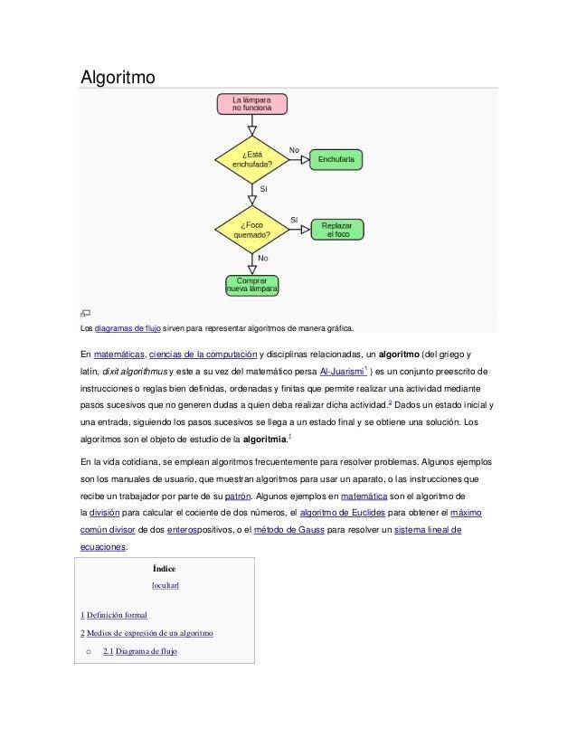 AlgoritmoLos diagramas de flujo sirven para representar algoritmos de manera gráfica.En matemáticas, ciencias de la comput...