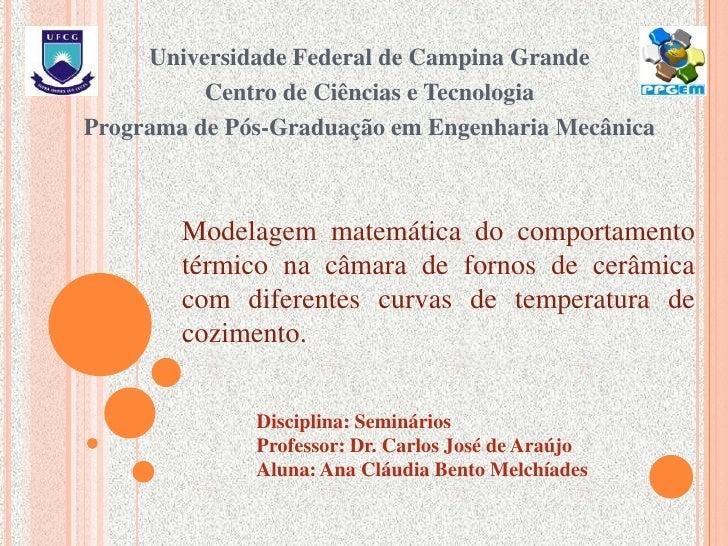 Universidade Federal de Campina Grande<br />Centro de Ciências e Tecnologia<br />Programa de Pós-Graduação em Engenharia M...