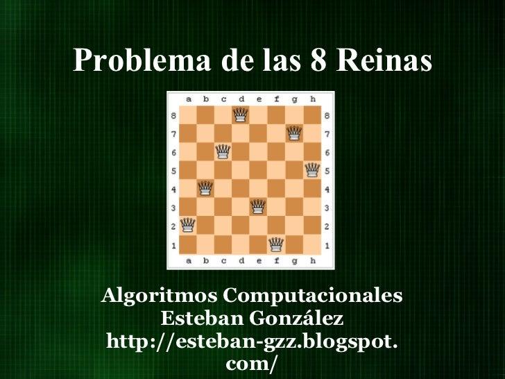 Problema de las 8 Reinas Algoritmos Computacionales      Esteban González http://esteban-gzz.blogspot.             com/