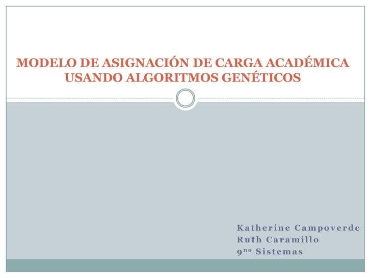 MODELO DE ASIGNACIÓN DE CARGA ACADÉMICA USANDO ALGORITMOS GENÉTICOS<br />Katherine Campoverde<br />Ruth Caramillo<br />9no...