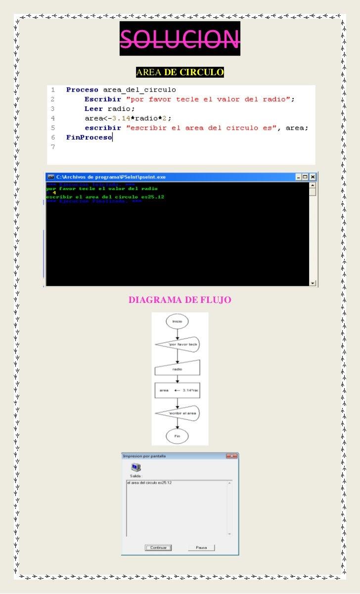 SOLUCION AREA DE CIRCULODIAGRAMA DE FLUJO