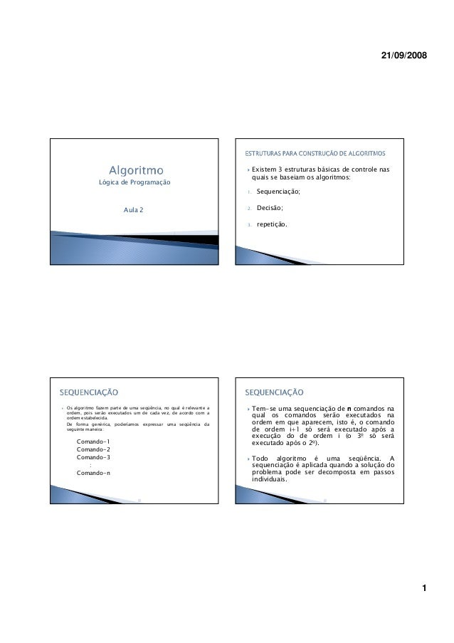 21/09/2008 1 Lógica de Programação Aula 2 Existem 3 estruturas básicas de controle nas quais se baseiam os algoritmos: 1. ...