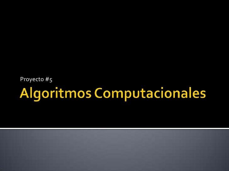 Algoritmos Computacionales<br />Proyecto #5<br />