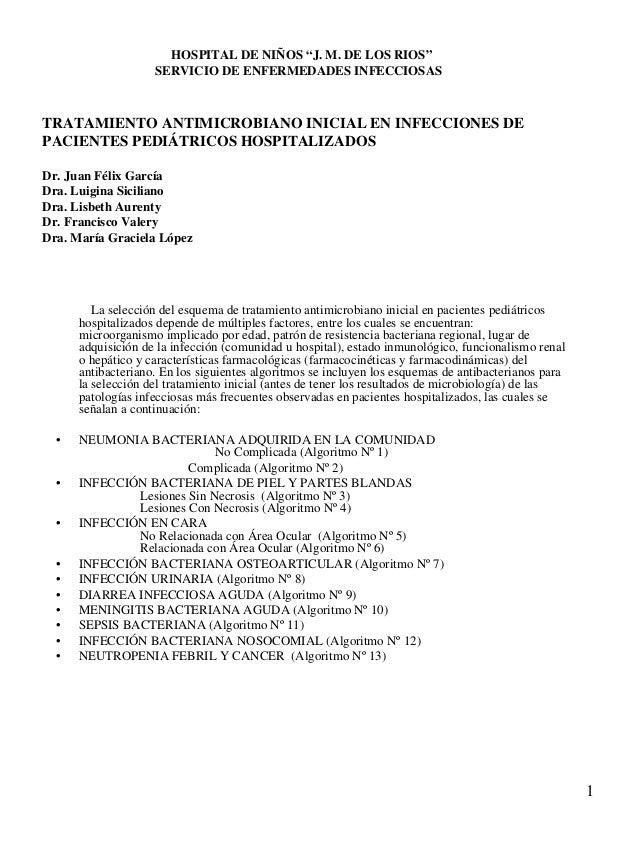 """HOSPITAL DE NIÑOS """"J. M. DE LOS RIOS""""                    SERVICIO DE ENFERMEDADES INFECCIOSASTRATAMIENTO ANTIMICROBIANO IN..."""