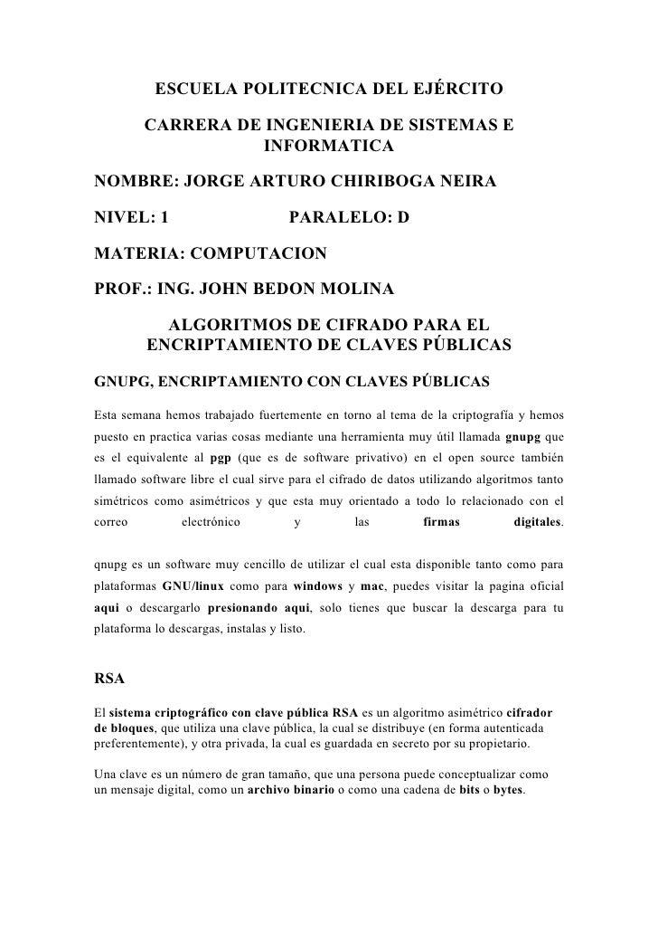 ESCUELA POLITECNICA DEL EJÉRCITO           CARRERA DE INGENIERIA DE SISTEMAS E                    INFORMATICA  NOMBRE: JOR...