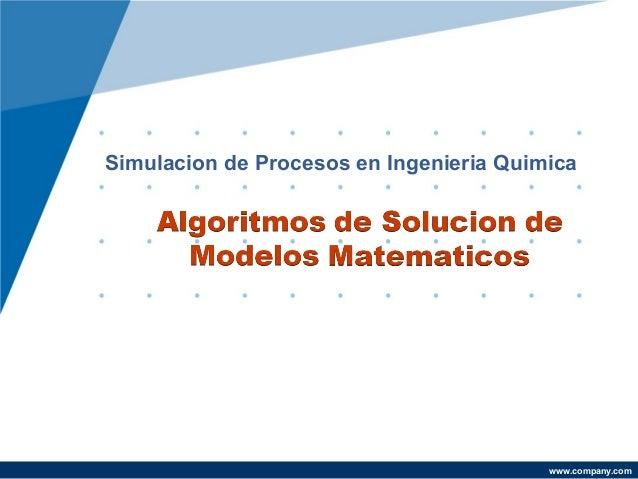 Simulacion de Procesos en Ingenieria Quimica  Yazmin Mendoza Castillo  www.company.com