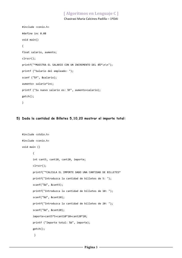 Ejemplos de algoritmos en C básicos (aprendiendo a programar) Slide 3