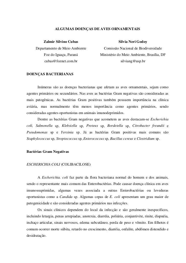 ALGUMAS DOENÇAS DE AVES ORNAMENTAIS              Zalmir Silvino Cubas                                 Silvia Neri Godoy   ...