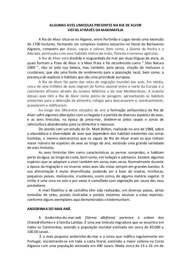 ALGUMAS AVES LIMICOLAS PRESENTES NA RIA DE ALVORVISTAS ATRAVÉS DA MAXIMAFILIAA Ria de Alvor situa-se no Algarve, entre Por...