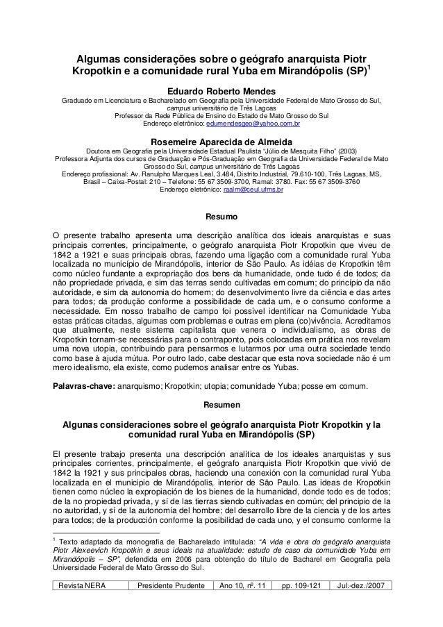 Revista NERA Presidente Prudente Ano 10, nº. 11 pp. 109-121 Jul.-dez./2007 Algumas considerações sobre o geógrafo anarquis...