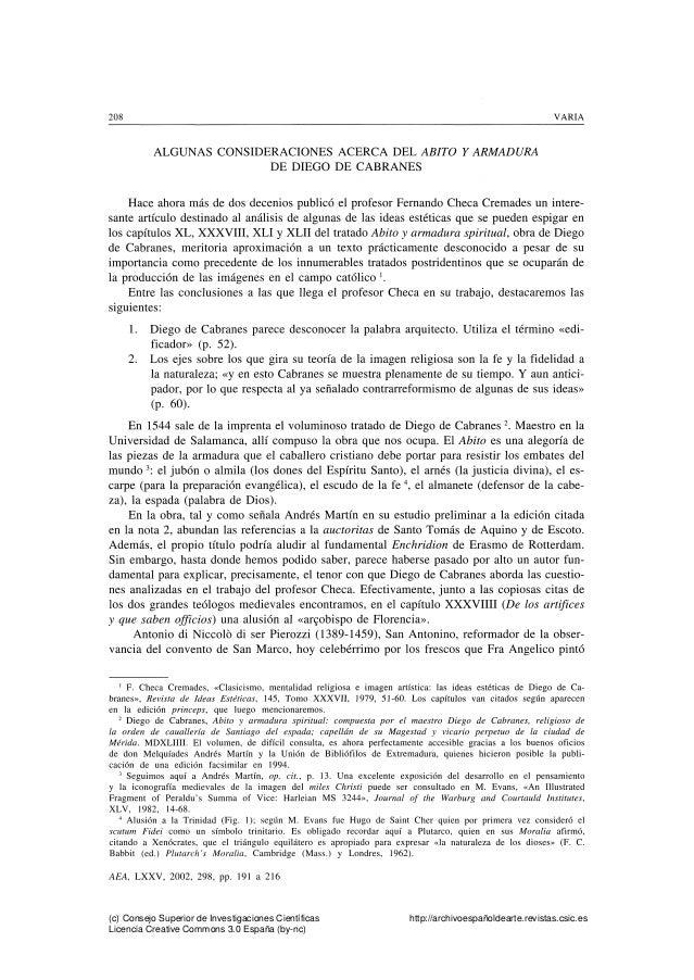 208 VARIA ALGUNAS CONSIDERACIONES ACERCA DEL ABITO Y ARMADURA DE DIEGO DE CABRANES Hace ahora m�s de dos decenios public� ...