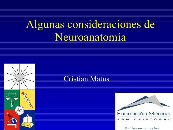 Algunas consideraciones de Neuroanatomía Cristian Matus