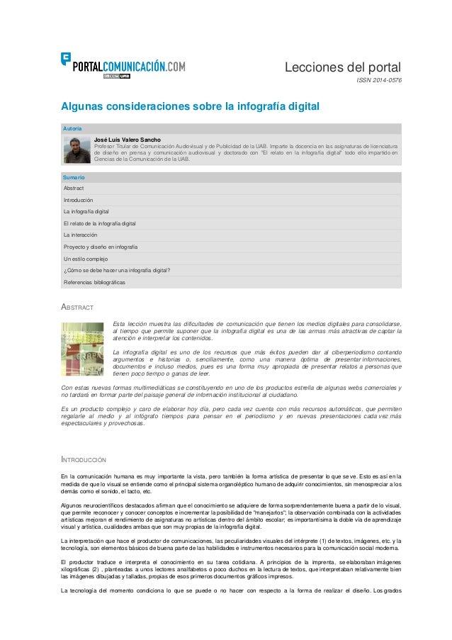 Algunas consideraciones sobre la infografía digital Autoría José LuísValero Sancho Profesor Titular de Comunicación Audio...