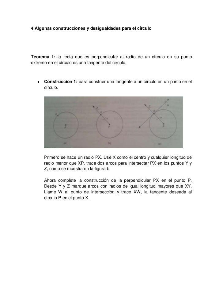 4 Algunas construcciones y desigualdades para el círculoTeorema 1: la recta que es perpendicular al radio de un círculo en...