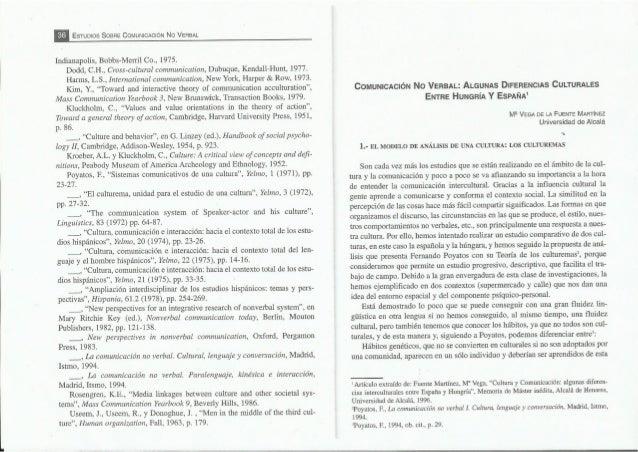 E EsTuoios SosHE COMUNICACIÓN No VERBAL  Indianapolis,  Bobbs-Merril Co. , 1975.  Dodd,  C. H.,  Cross-cultural communicat...