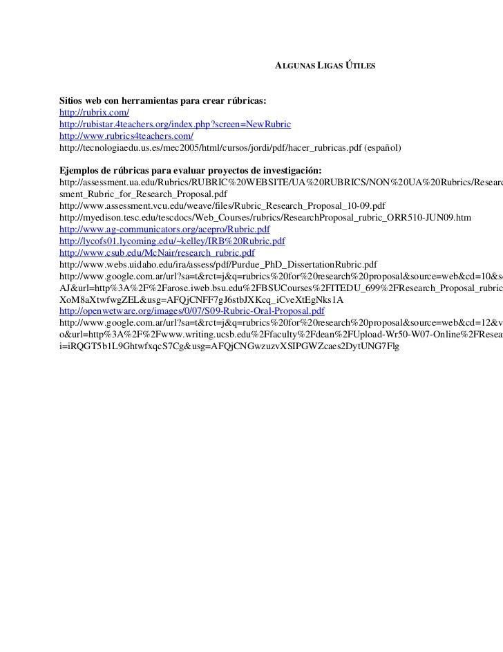 ALGUNAS LIGAS ÚTILESSitios web con herramientas para crear rúbricas:http://rubrix.com/http://rubistar.4teachers.org/index....
