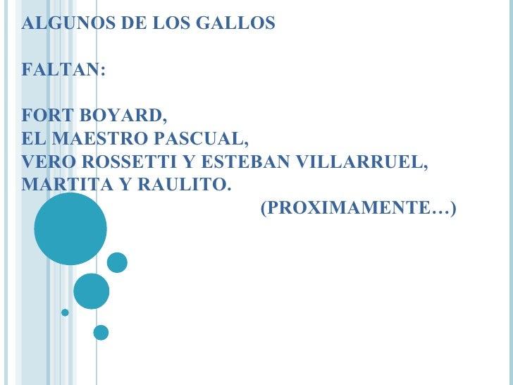 ALGUNOS DE LOS GALLOS FALTAN: FORT BOYARD, EL MAESTRO PASCUAL,  VERO ROSSETTI Y ESTEBAN VILLARRUEL,  MARTITA Y RAULITO.   ...