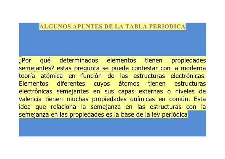 ALGUNOS APUNTES DE LA TABLA PERIODICA¿Por qué determinados elementos tienen propiedadessemejantes? estas pregunta se puede...