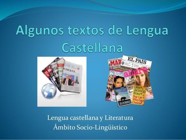 Lengua castellana y Literatura Ámbito Socio-Lingüístico