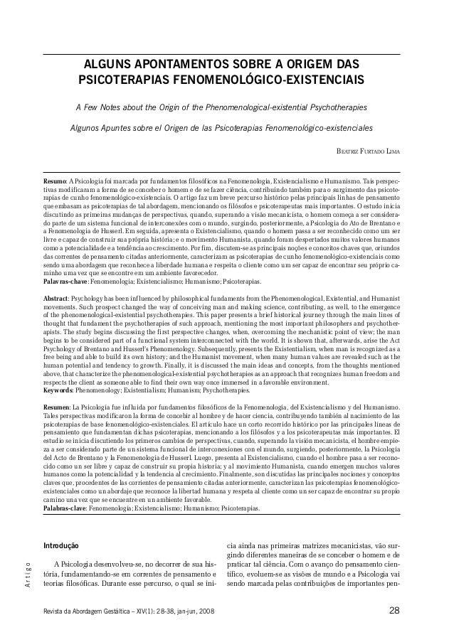 Beatriz F. Lima 28Revista da Abordagem Gestáltica – XIV(1): 28-38, jan-jun, 2008 Artigo Alguns Apontamentos sobre a Origem...