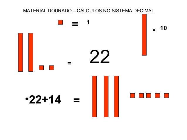 = 22 •22+14 = MATERIAL DOURADO – CÁLCULOS NO SISTEMA DECIMAL = 1 = 10