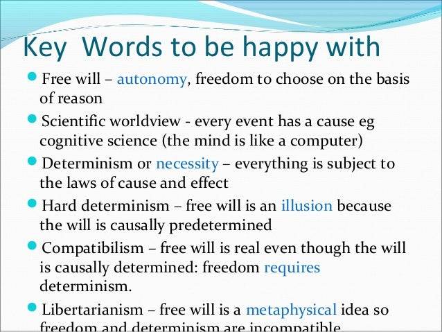 free will determinism Are you in control of your destiny or are you fated to live and act a certain way make up your own mind with great philosophical debates: free will and determinism.