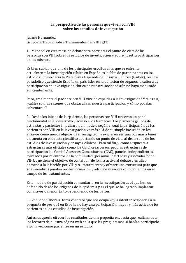 La perspectiva de las personas que viven con VIH                      sobre los estudios de investigaciónJuanse HernándezG...