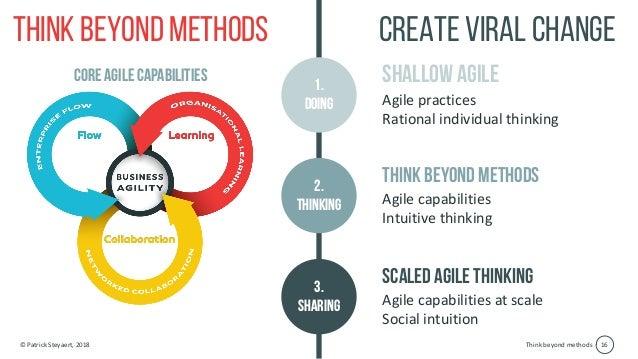 Think beyond methods© Patrick Steyaert, 2018 16 Think beyond methods Shallow agile Agile practices Rational individual thi...