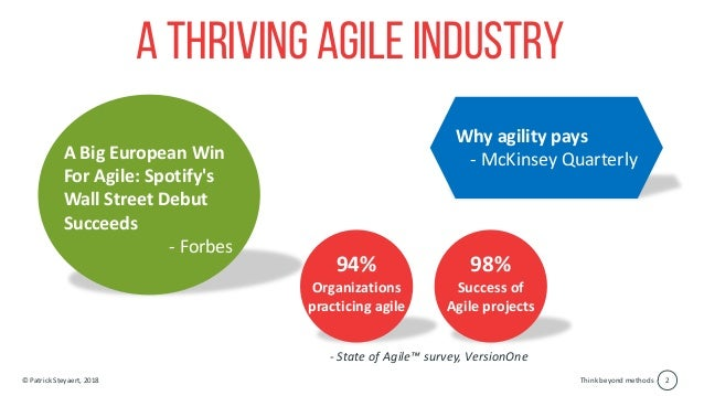 Think beyond methods© Patrick Steyaert, 2018 2 A thriving Agile industry A Big European Win For Agile: Spotify's Wall Stre...