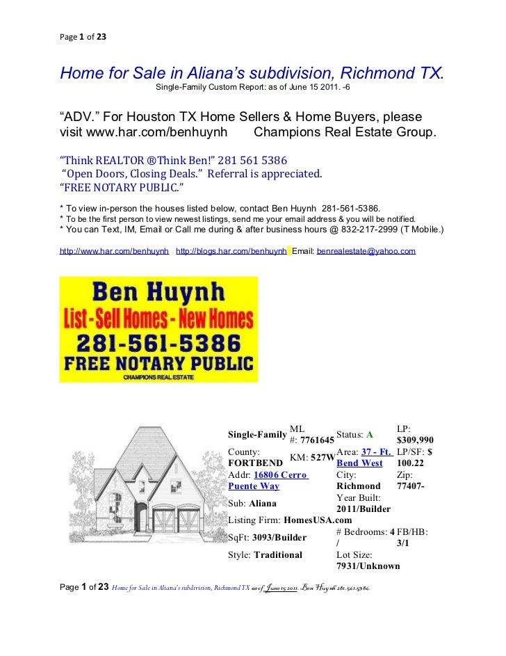 Page 1 of 23Home for Sale in Aliana's subdivision, Richmond TX.                                 Single-Family Custom Repor...