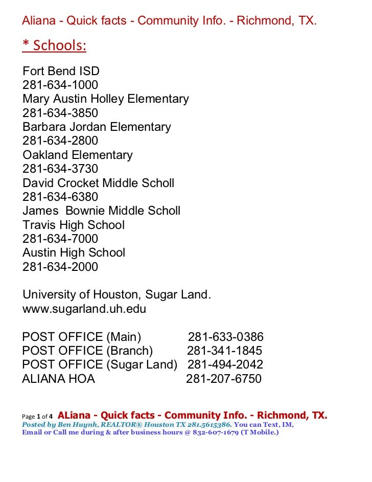 Aliana - Quick facts - Community Info. - Richmond, TX.* Schools:Fort Bend ISD281-634-1000Mary Austin Holley Elementary281-...
