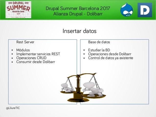 Drupal Summer Barcelona 2017 Alianza Drupal - Dolibarr @LliureTIC Insertar datos Rest Server ● Módulos ● Implementar servi...