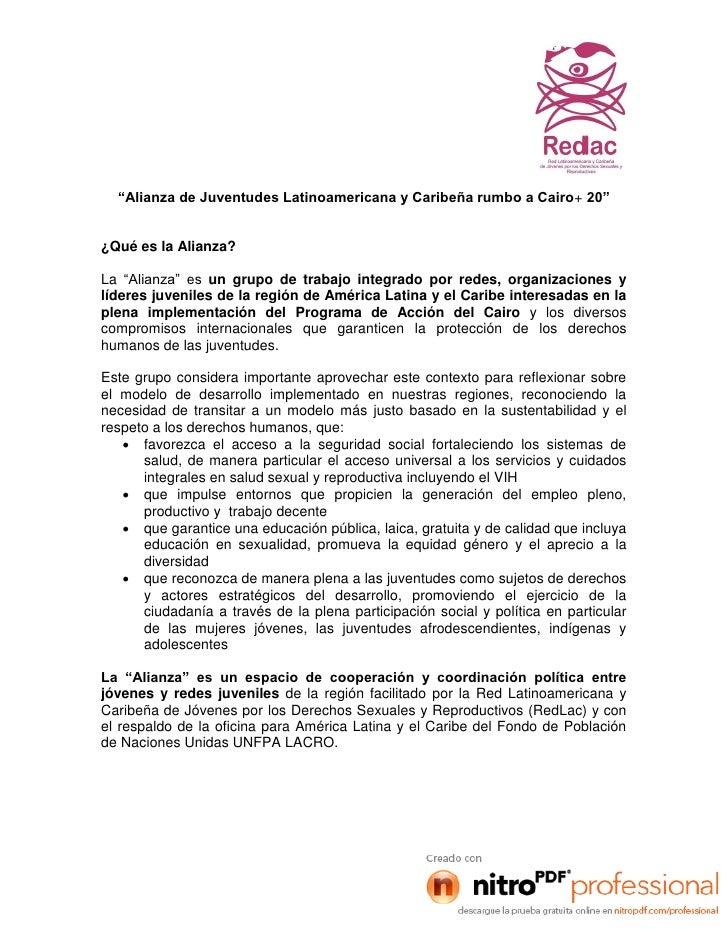 """""""Alianza de Juventudes Latinoamericana y Caribeña rumbo a Cairo+ 20""""¿Qué es la Alianza?La """"Alianza"""" es un grupo de trabajo..."""