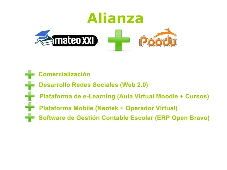Alianza Comercialización Desarrollo Redes Sociales (Web 2.0) Plataforma de e-Learning (Aula Virtual Moodle + Cursos) Plata...