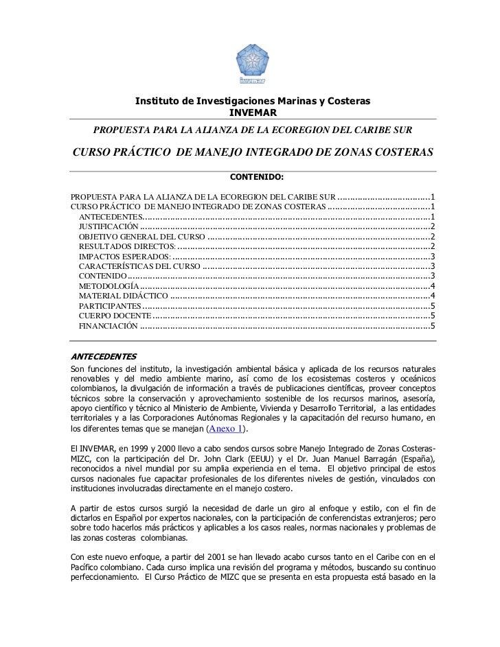 Instituto de Investigaciones Marinas y Costeras                                          INVEMAR        PROPUESTA PARA LA ...