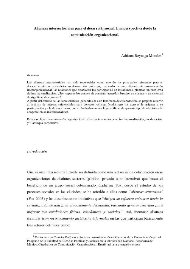 Alianzas intersectoriales para el desarrollo social. Una perspectiva desde la comunicación organizacional.  Adriana Reynag...