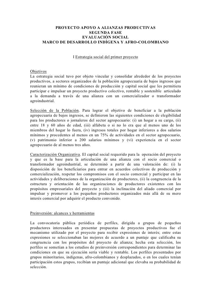 PROYECTO APOYO A ALIANZAS PRODUCTIVAS                         SEGUNDA FASE                      EVALUACIÓN SOCIAL        M...