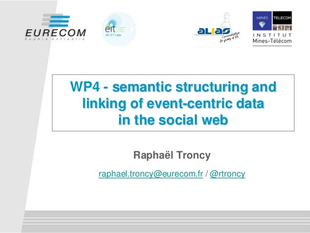 WP4 - semantic structuring andlinking of event-centric datain the social webRaphaël Troncyraphael.troncy@eurecom.fr / @rtr...