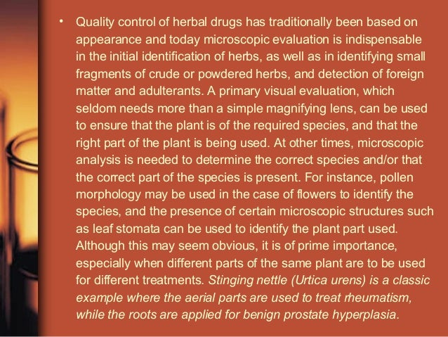 quality control of herbal drugs pdf