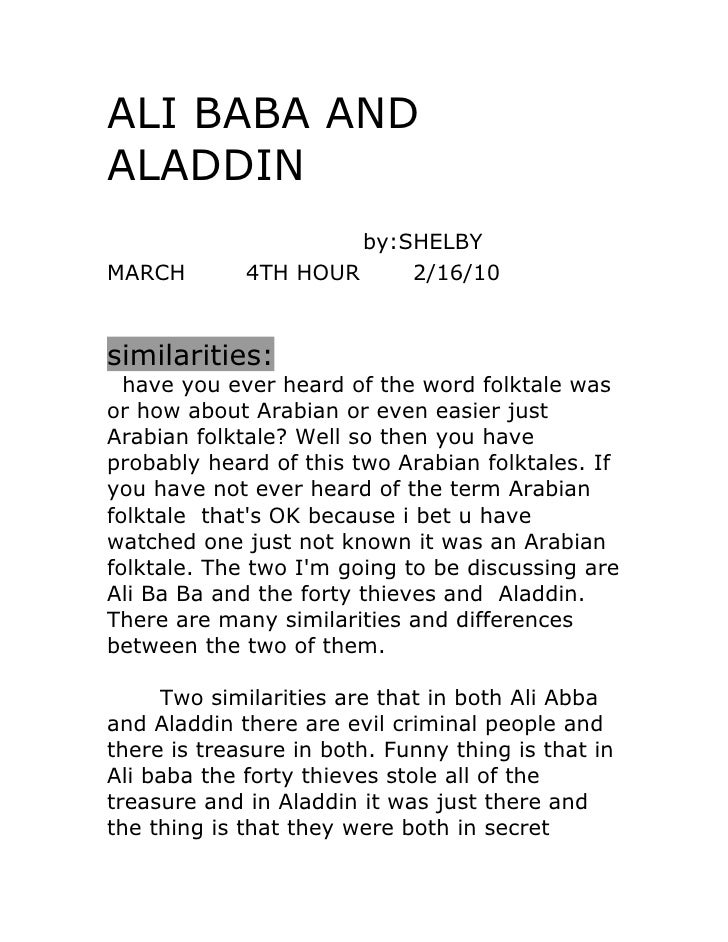ALI BABA AND ALADDIN                       by:SHELBY MARCH        4TH HOUR     2/16/10   similarities:   have you ever hea...