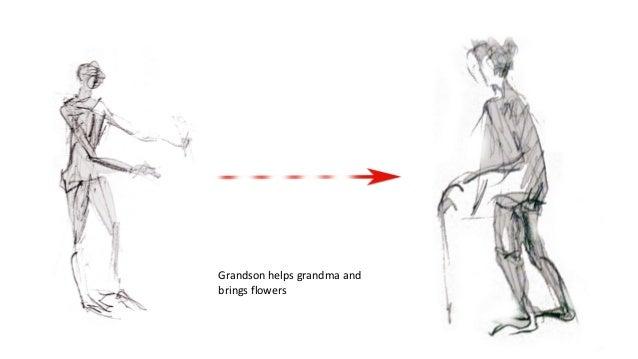 Grandson helps grandma and brings flowers