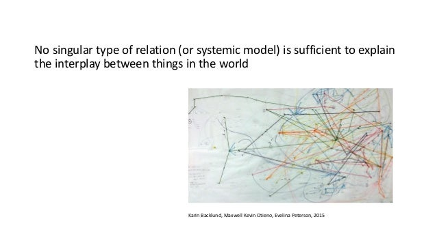 No singular type of relation (or systemic model) is sufficient to explain the interplay between things in the world Karin ...