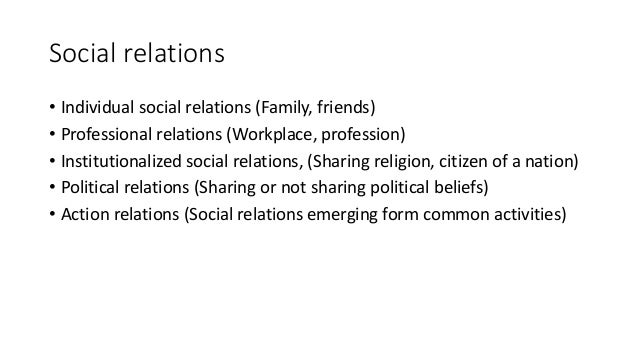 Social relations • Individual social relations (Family, friends) • Professional relations (Workplace, profession) • Instit...