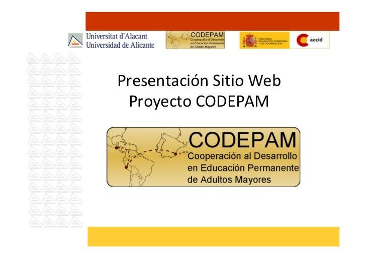 Presentación Sitio Web Proyecto CODEPAM