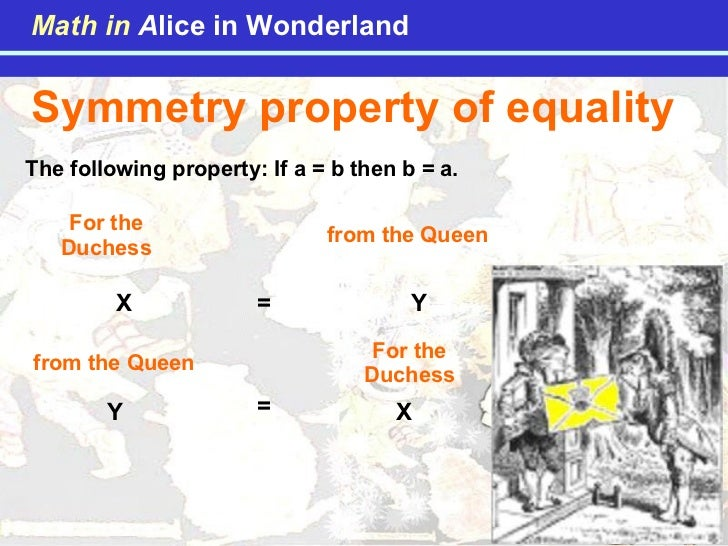 Symmetry property of equality The following property: If a = b then b = a. X Y = X Y = For the Duchess from the Queen For ...