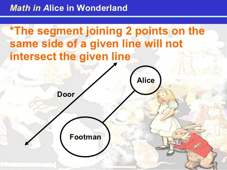 *The segment joining 2 points on the same side of a given line will not intersect the given line Alice Footman Door Math i...
