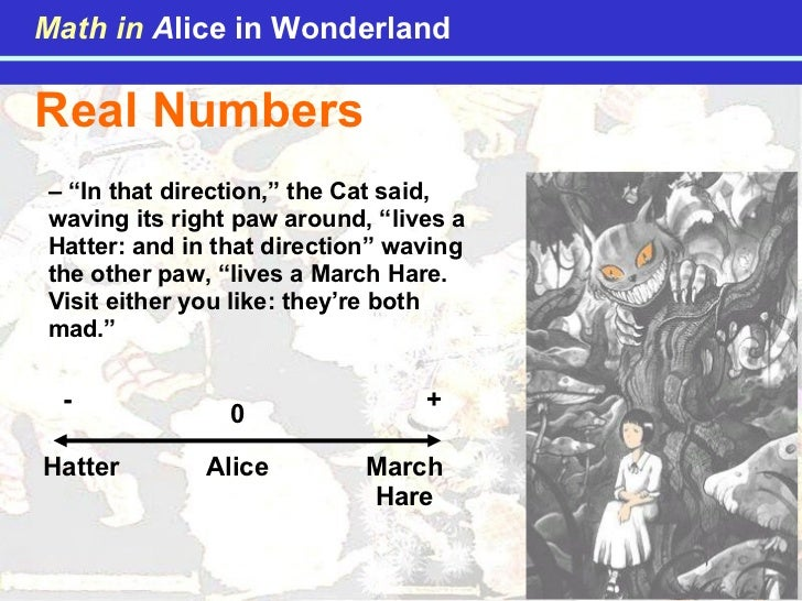 """Real Numbers  – """" In that direction,"""" the Cat said, waving its right paw around, """"lives a Hatter: and in that direction"""" w..."""